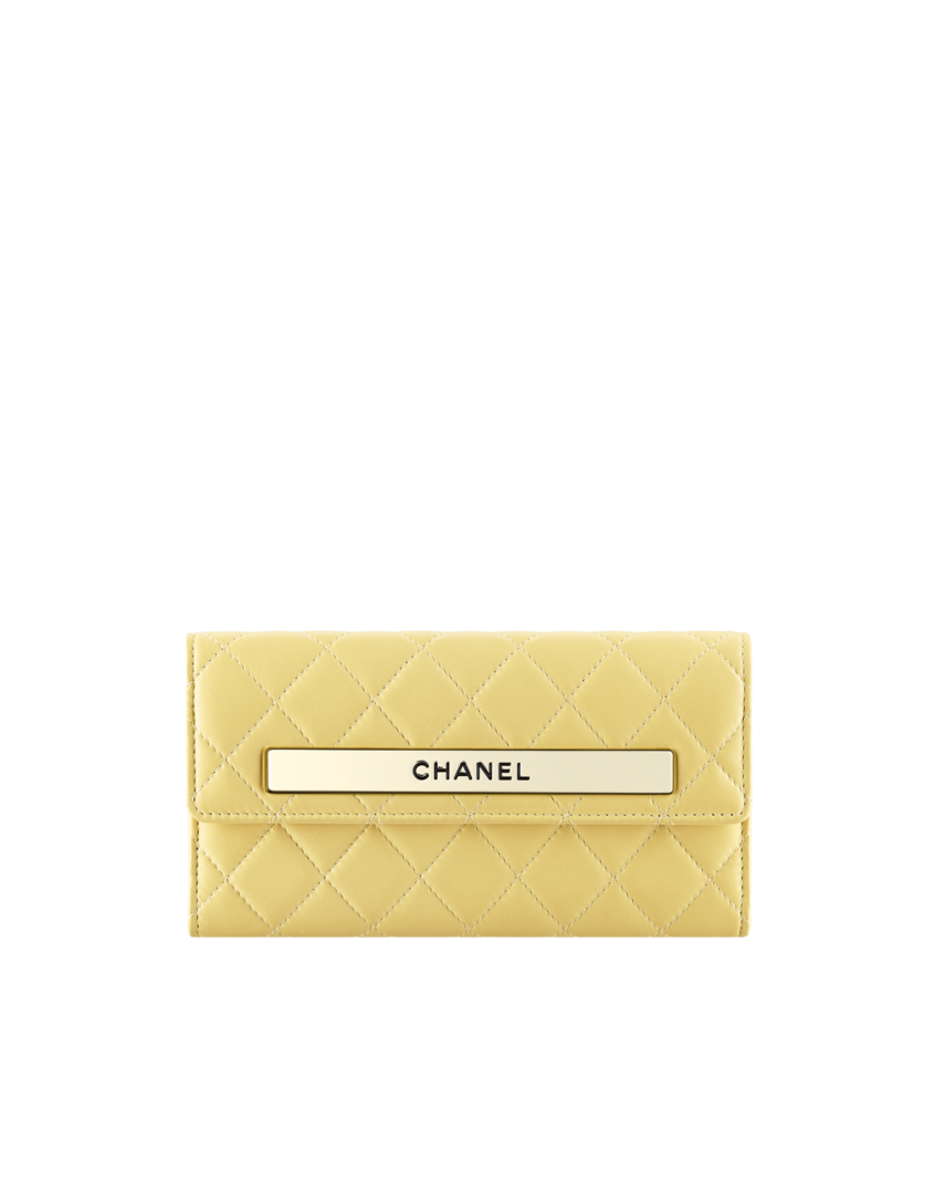 Portefeuille à rabat, agneau   métal doré-jaune - CHANEL   Chanel ... d10c7259c0a