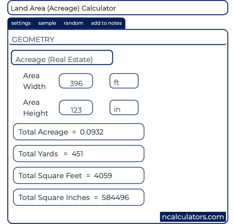 Land Area Calculator Calculator Square Foot Calculator Online Calculator
