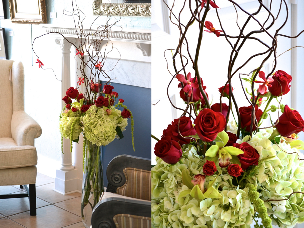 Tall red rose mokara orchid lime hydrangea cymbidium