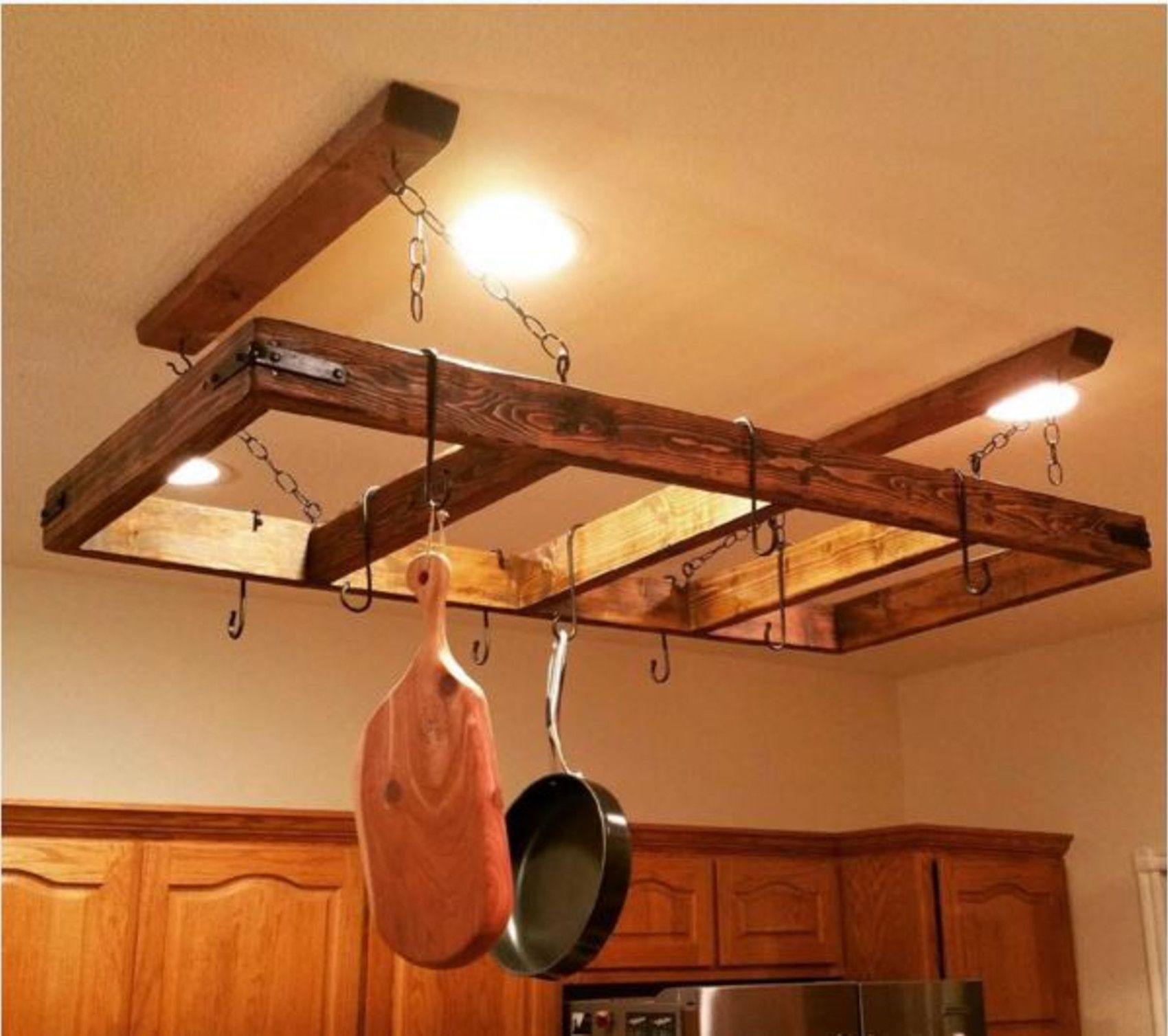 12 DIY pot rack projects to save space in your kitchen: Wooden frame ...