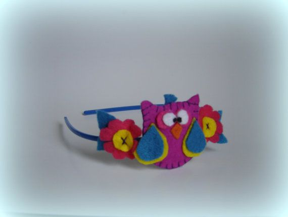 owl headband girls headbands purple hairband por BBBsDesigns