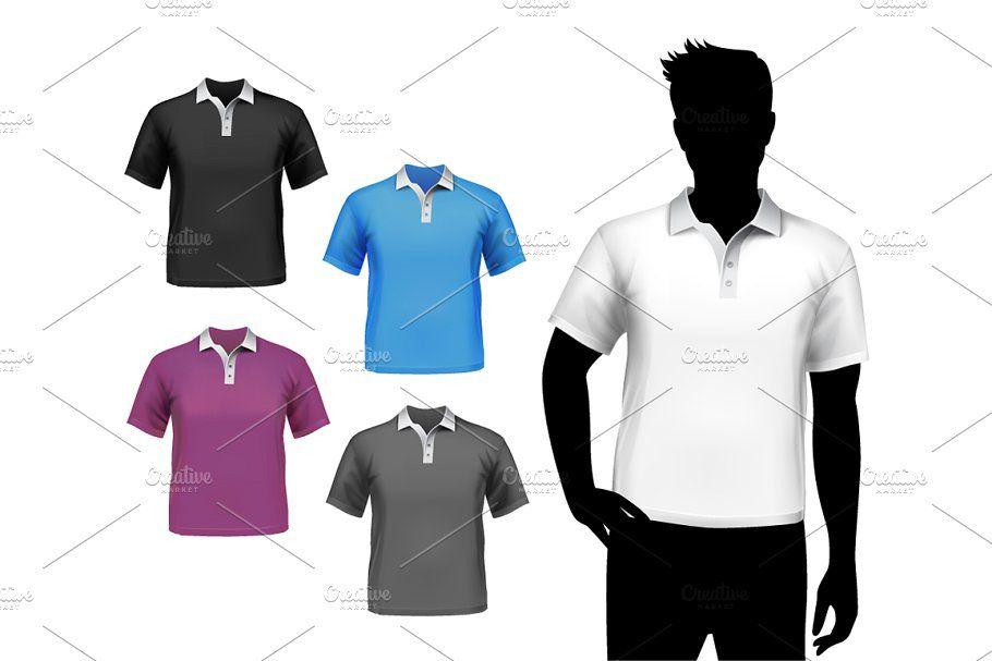 T Shirt Realistic Set Shirt Template Shirts Neck T Shirt