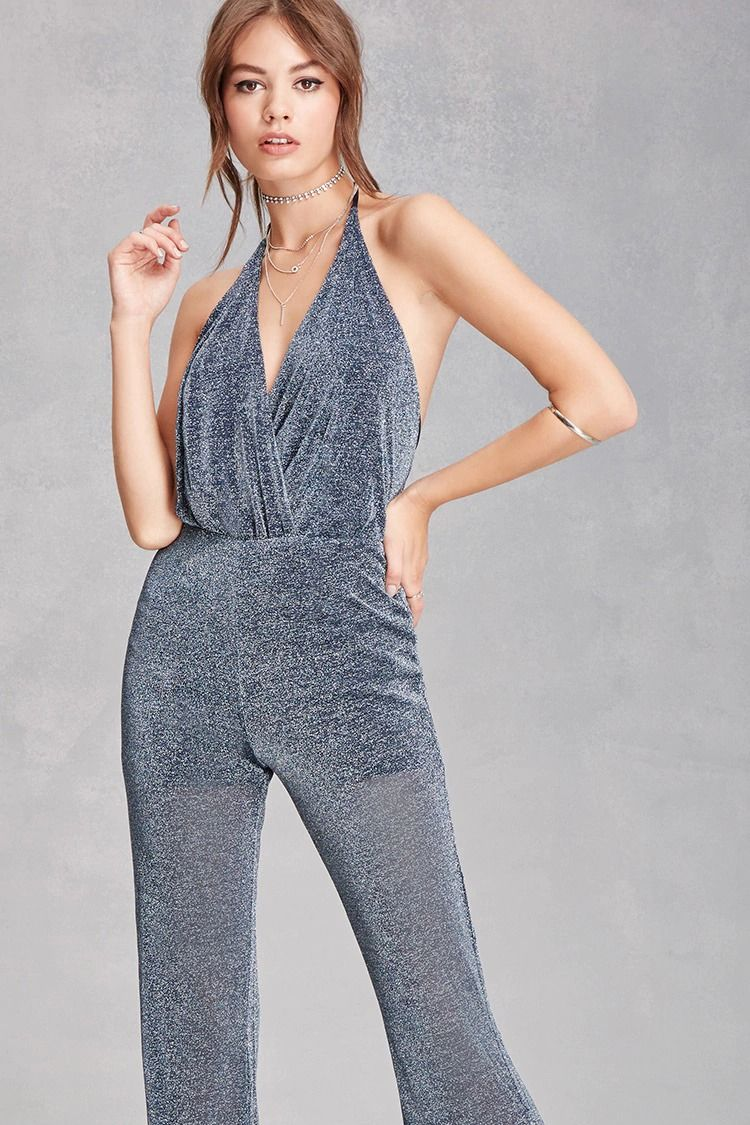 478999c2ca8a A metallic knit jumpsuit featuring a halter neck with self-tie ...