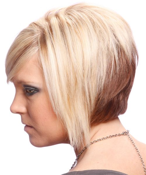Short Straight Alternative Hairstyle With Side Swept Bangs Light