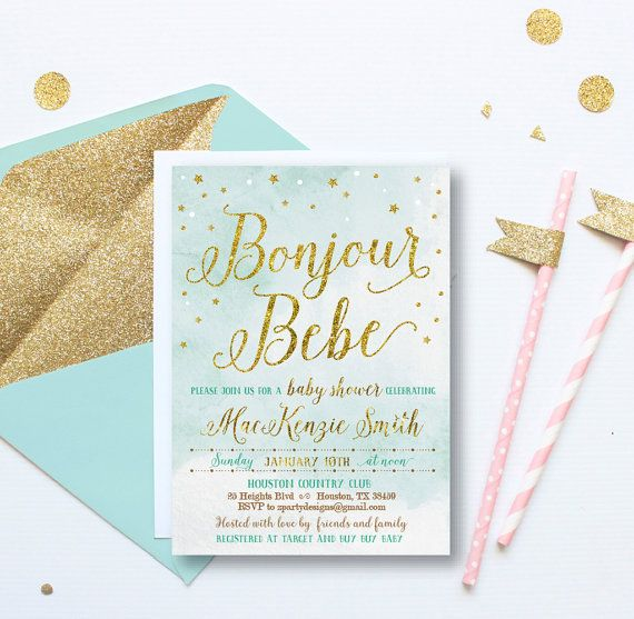 Gold baby boy shower invitation french baby shower invitations gold baby boy shower invitation french baby shower stopboris Images