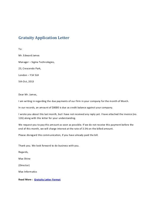 application letter format india official gratuity formal