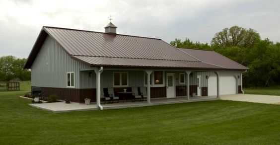 I Like The Look Of This Home With Shop Maybe Not The Colors Though Barn House Kits Barn House Plans Pole Barn House Kits