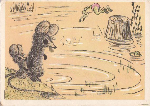 Postcard Drawing by Golubev (Let's swim) - 1965, Soviet Artist Publ.