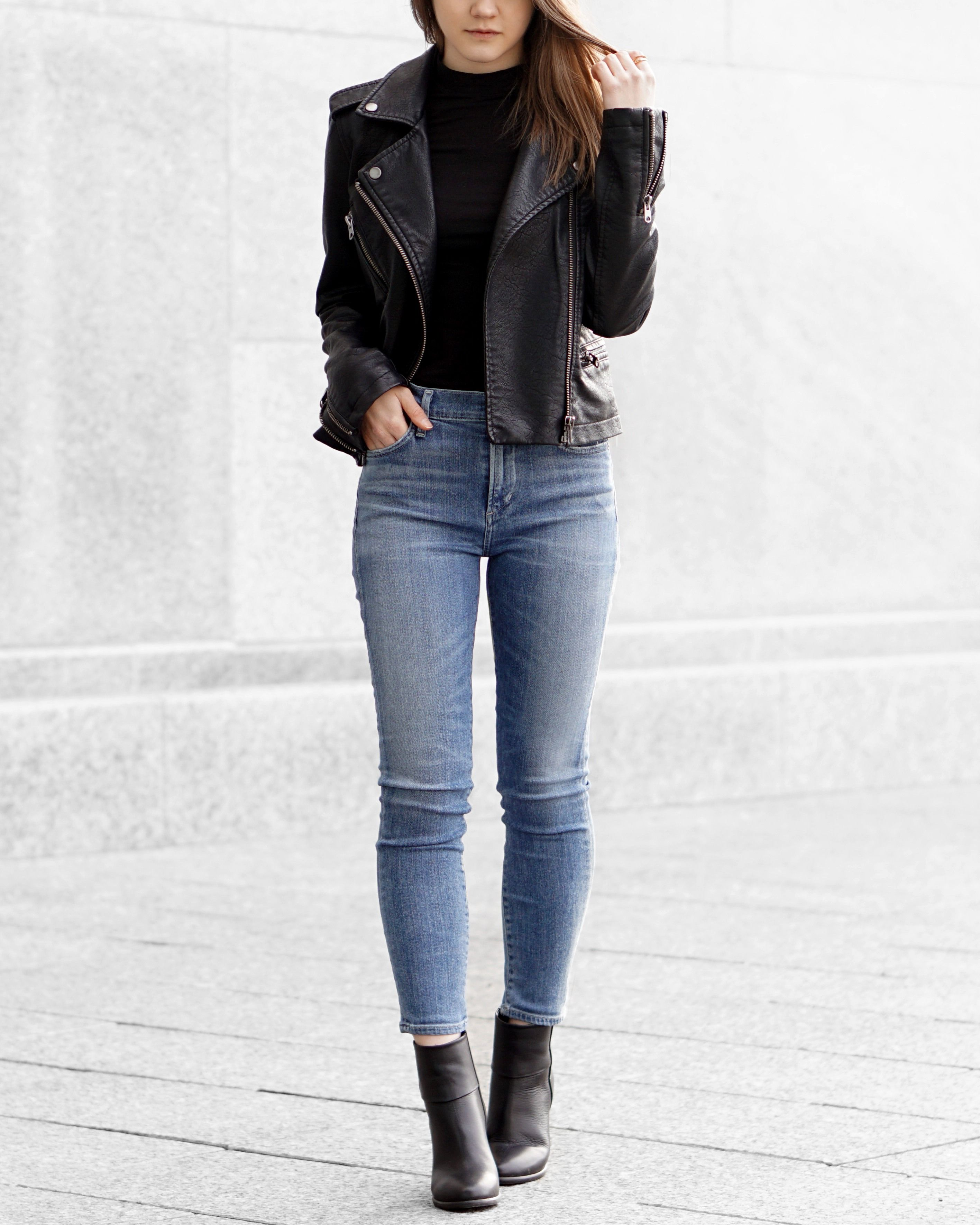 Leather Jacket Skinny Jeans Winter Outfits Pinterest Palomino Xaveri Totebag Grey A Little Detail Moto Black Turtleneck Ankle Boots Outfit Springfashion Fallfashion Fashion