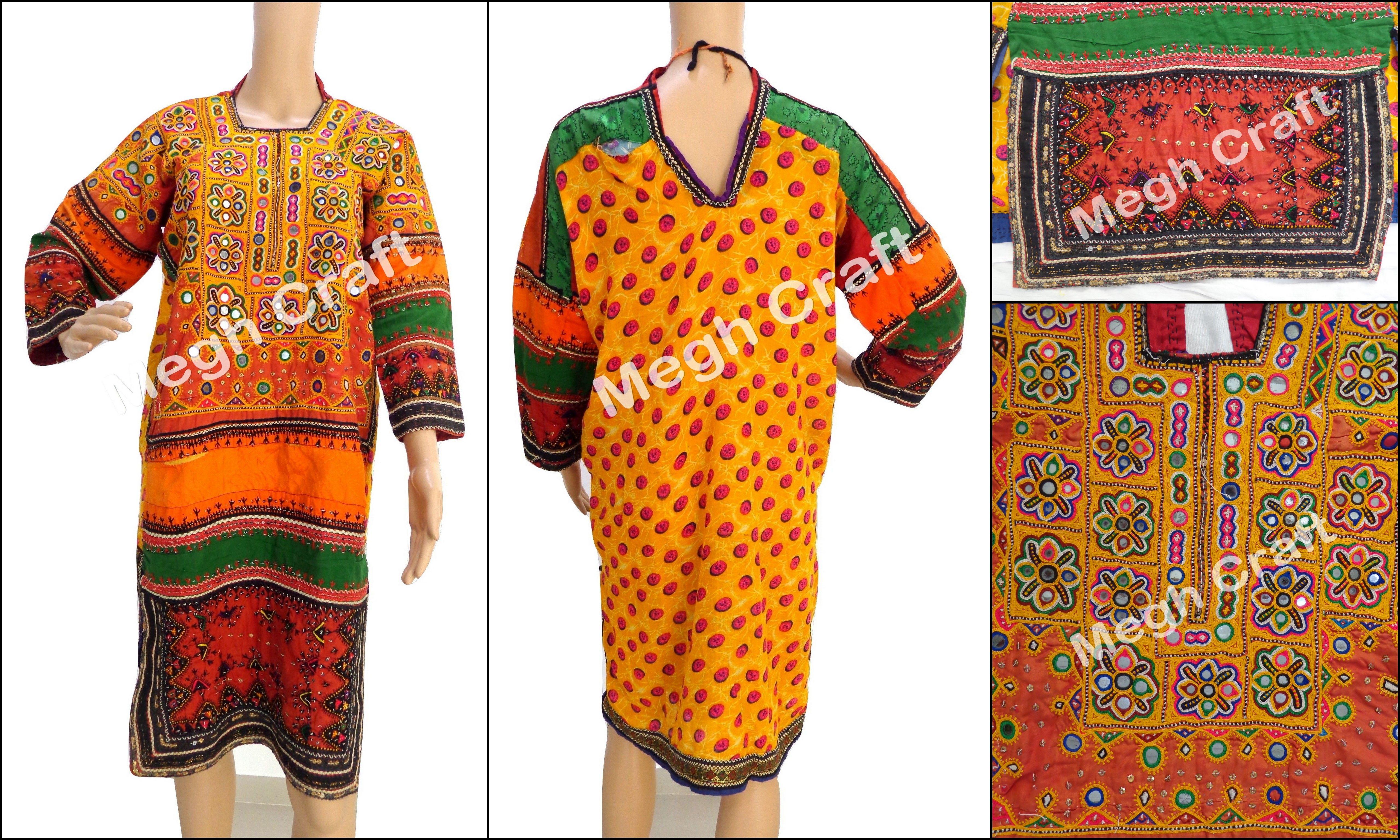 34a6f8f0946 Kuchi Dress-Afghan tunic -Banjara tunic-Afghan Dress Tribal Top-Boho-Hippy- Vintage-Handmade-Tunic Top traditional Afghan tunic / BY #CraftsOfGujarat  ...