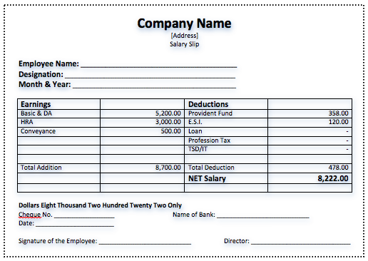 Efficient Salary Slip Template Example with Company Name and Blank ...