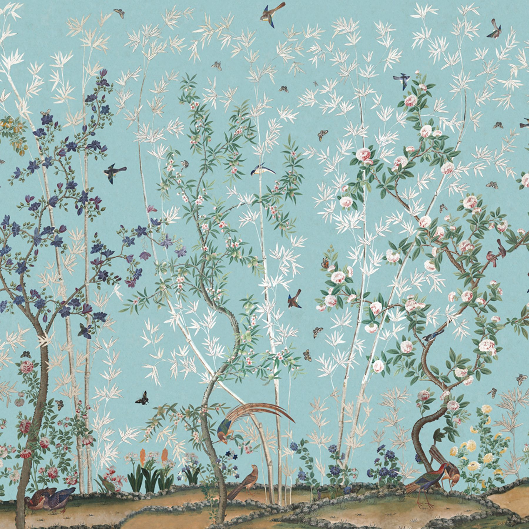 Eastern Eden | IK2500 in Blue | Panel by Iksel by Schumacher | This lush Tree of Life design was inspired by an early 19th-century hand-painted Chinese ...