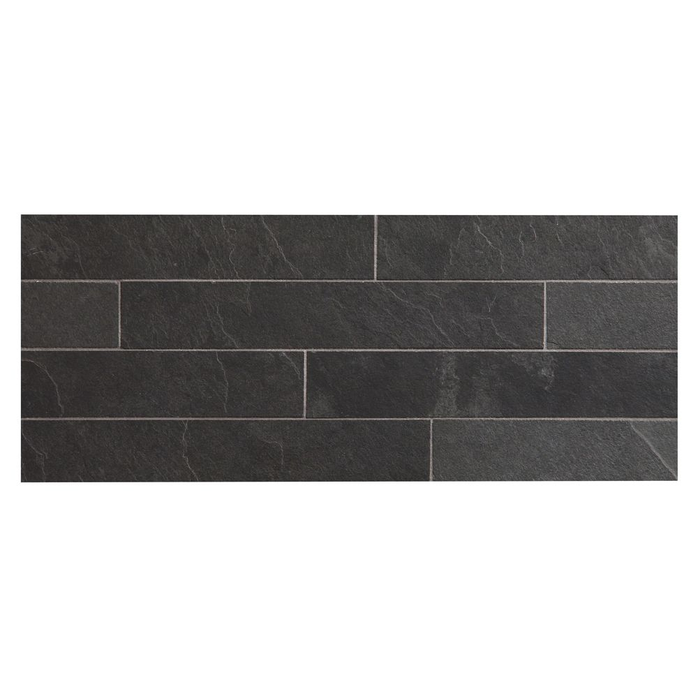 Complete Tile Collection Natural Stone Slate Montauk Black 2 X 12