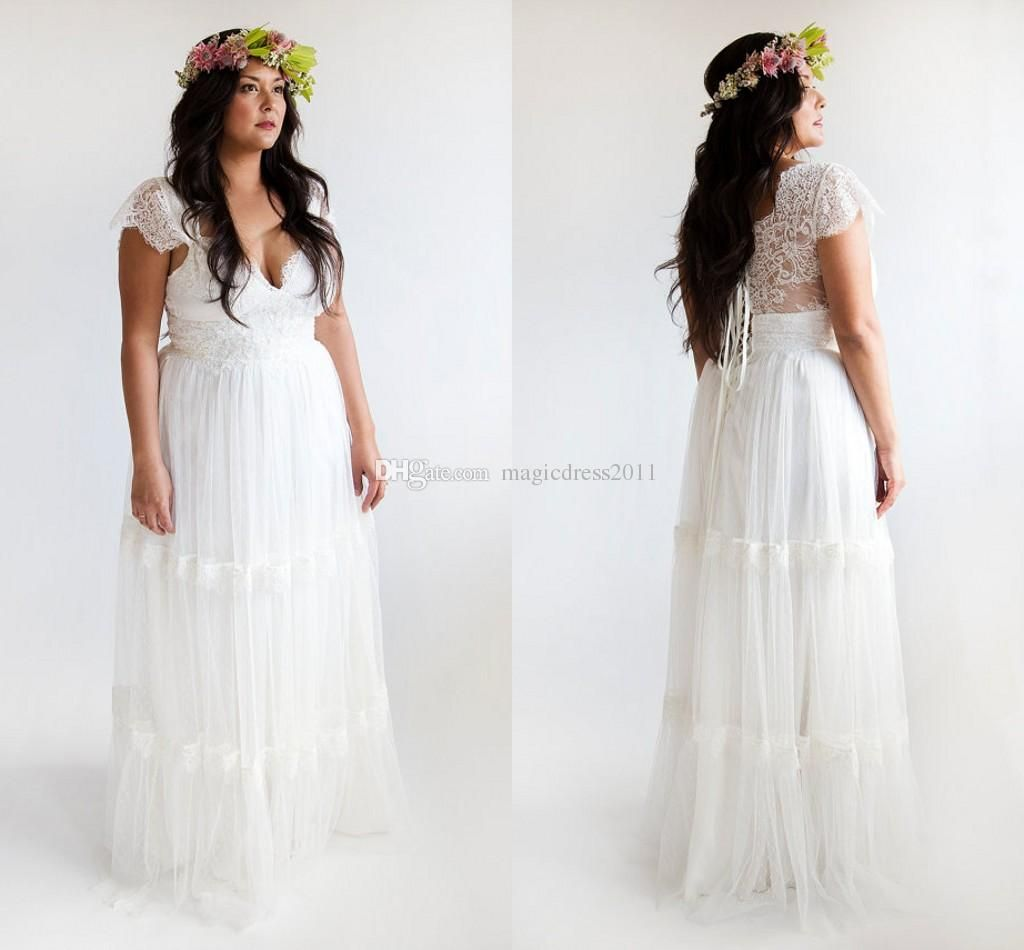 2015 Plus Size Beach Wedding Dresses Long Lace Bridal Gowns A Line Sweetheart Backless Cap
