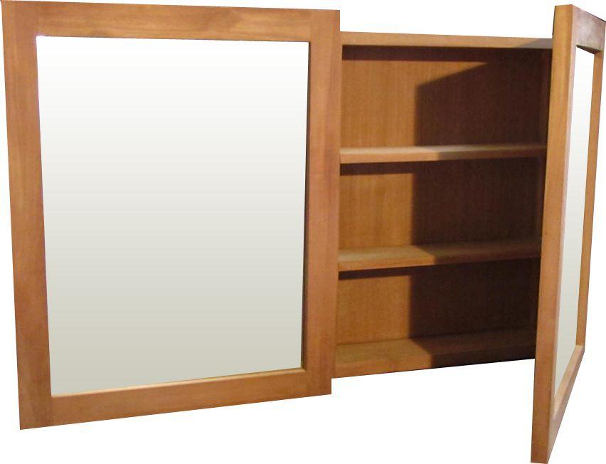 Teak Rotterdam spiegelkast badkamerspiegel kast mirror 120 cm 2 deur ...