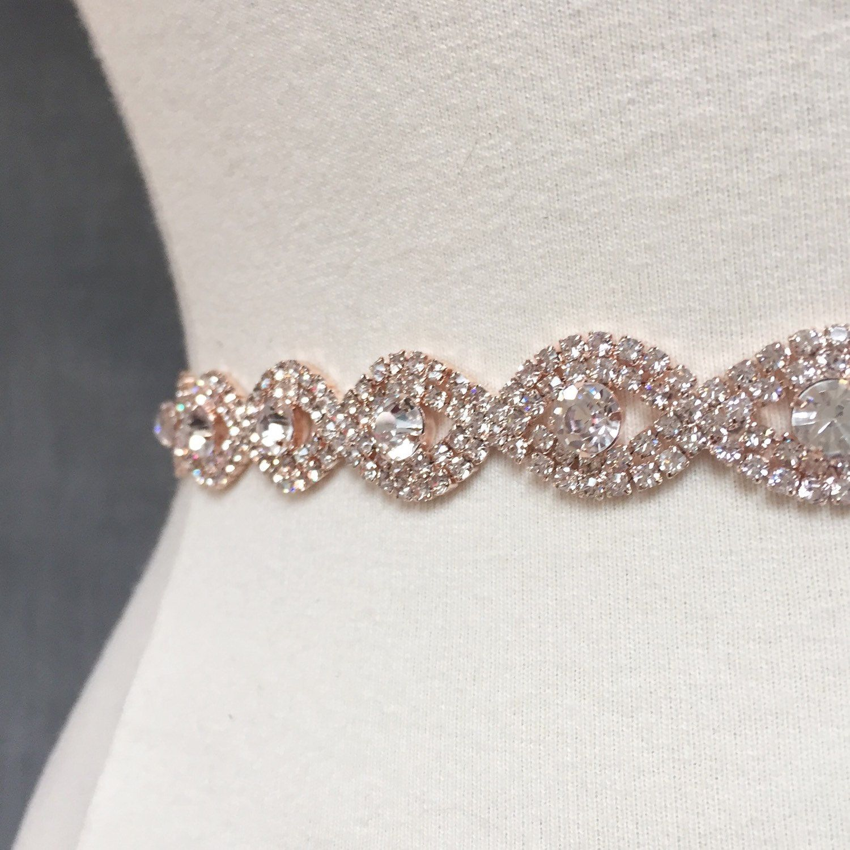 Thin Rose Gold Crystal Rhinestone Belt Rose gold Bridal Belt