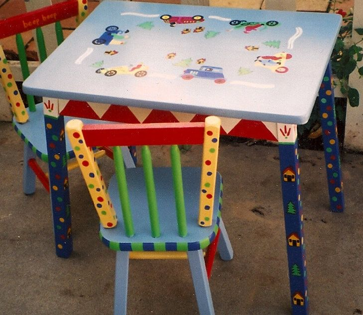Cars Table And Chair Set, Hand Painted Boys Table And Chairs, Kids Furniture