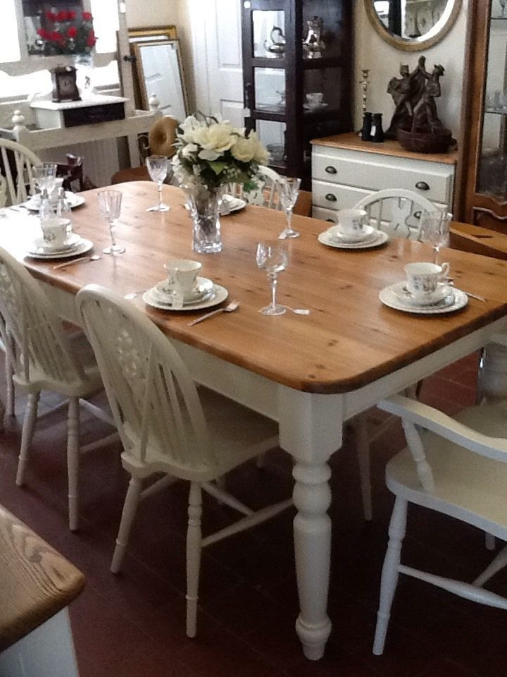Beautiful Vintage Farmhouse Table And 6 Chairs Shabby Chic