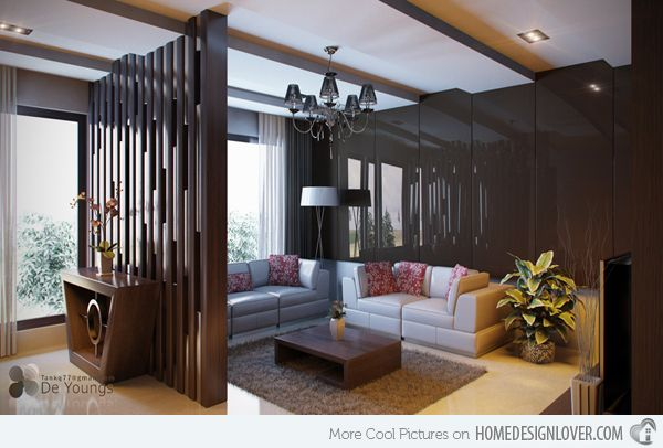 15 Pretty Brown Living Rooms | Living room divider, Room ...