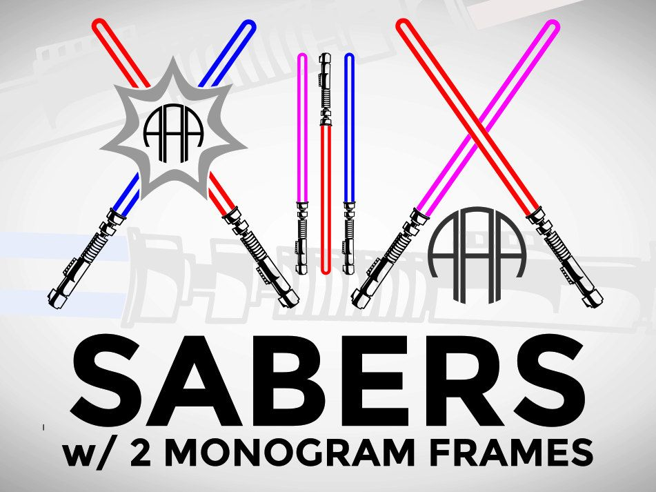 SVG Light Sword Sabers, Circle Monogram Frame, Star Battle