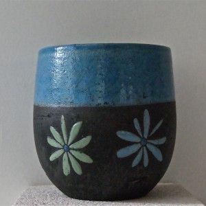 mug raku bleu canard motifs paquerettes ceramic pottery pinterest. Black Bedroom Furniture Sets. Home Design Ideas