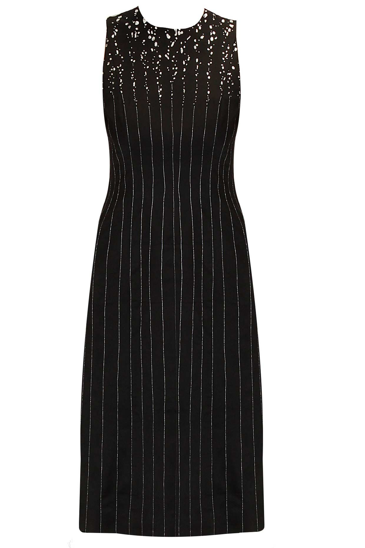 Black pinstriped dress by huemn shop now
