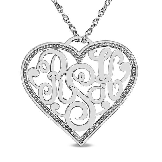 Personalized Monogram Heart Pendant In 10k White Gold 3 Initials Monogram Hearts Heart Pendant Personalized Monogram