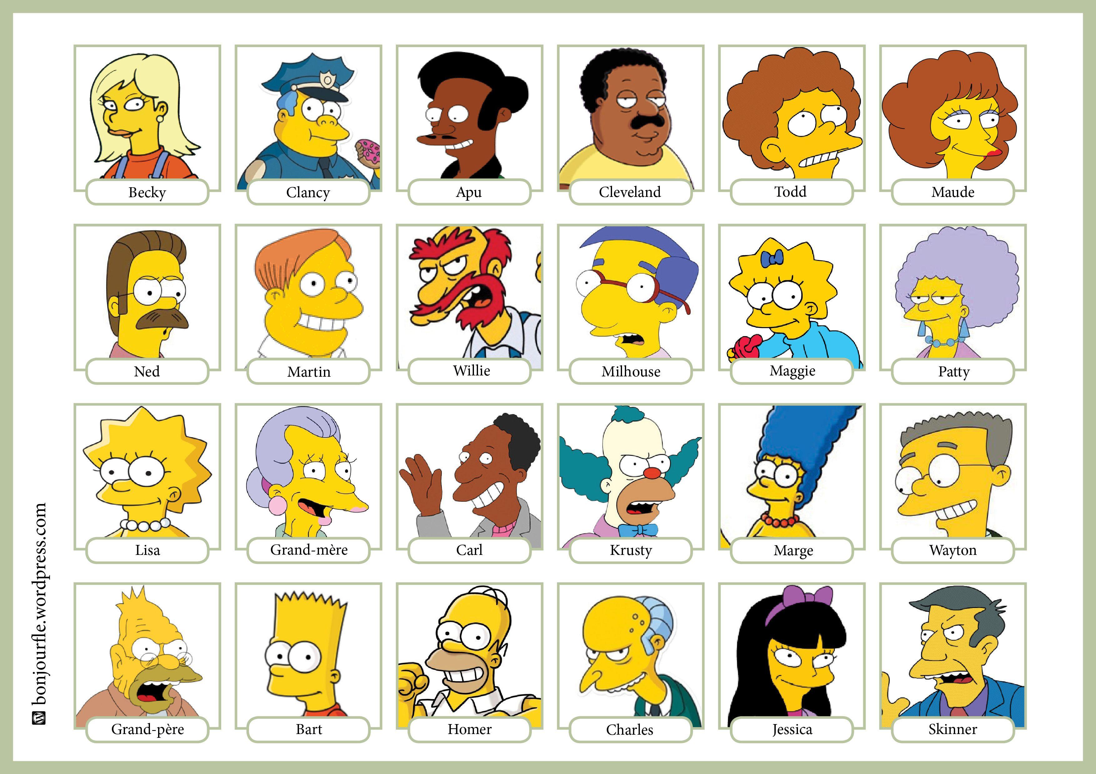 Qui est ce version simpson bordel jeux fle fle et - Tout les personnage des simpson ...