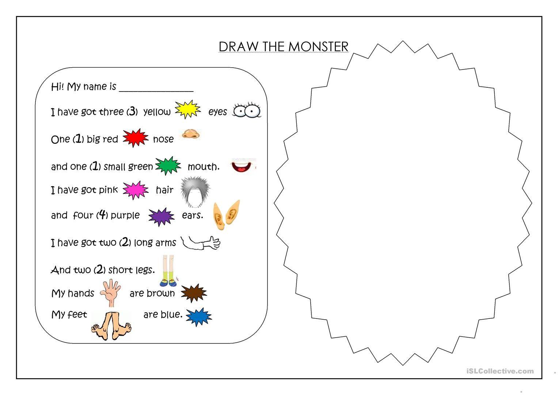 Image Result For Creating A Monster Worksheet
