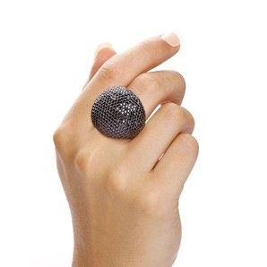 Valentina Black Large Cocktail Ring, part of the Monte Carlo Collection by www.j-jaz.com