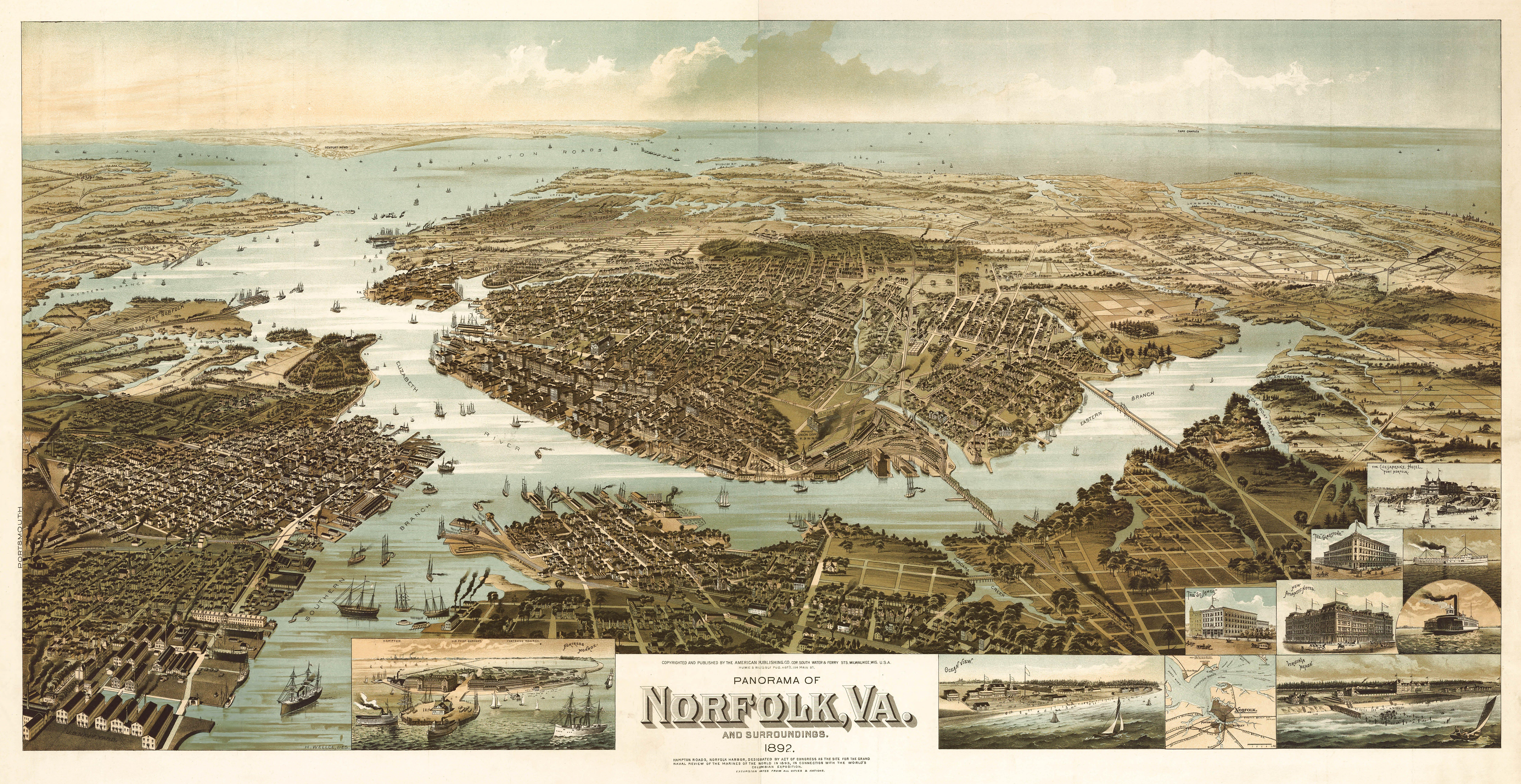 24x36 Washington DC 1892 Historic Panoramic Town Map