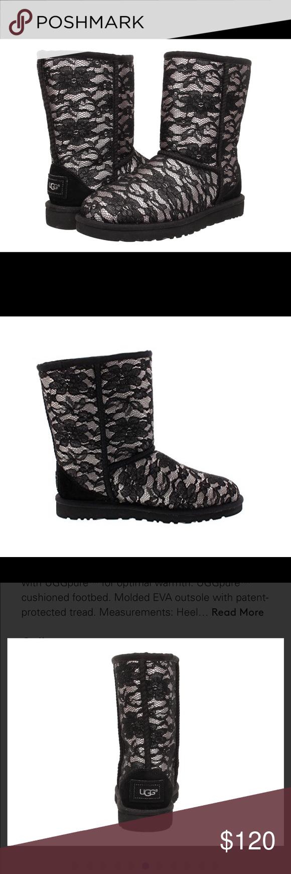 ba11191aa40 Black Classic Short Antoinette Ugg Boot Size 6 Beautiful NWOT lace ...