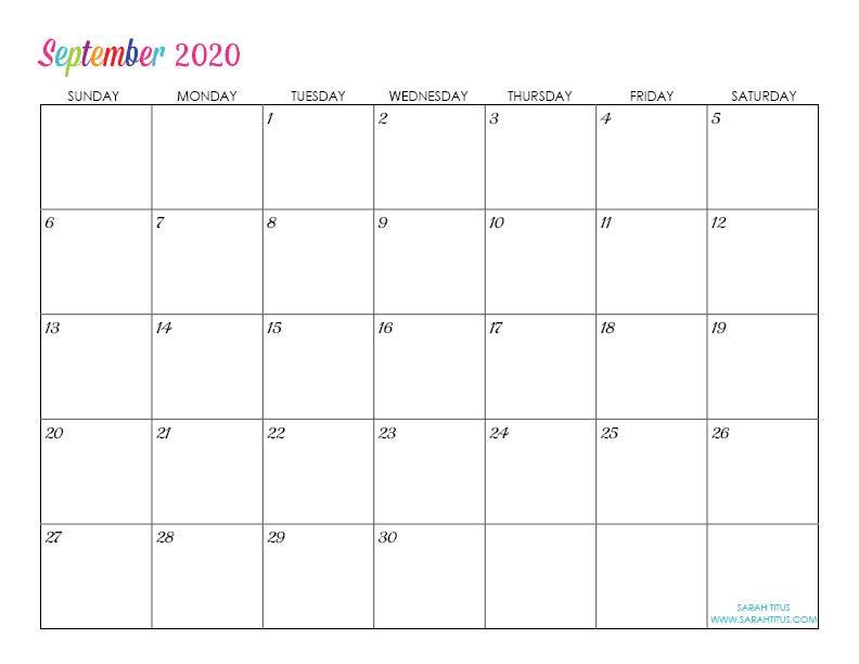 Custom Editable 2020 Free Printable Calendars Free Printable