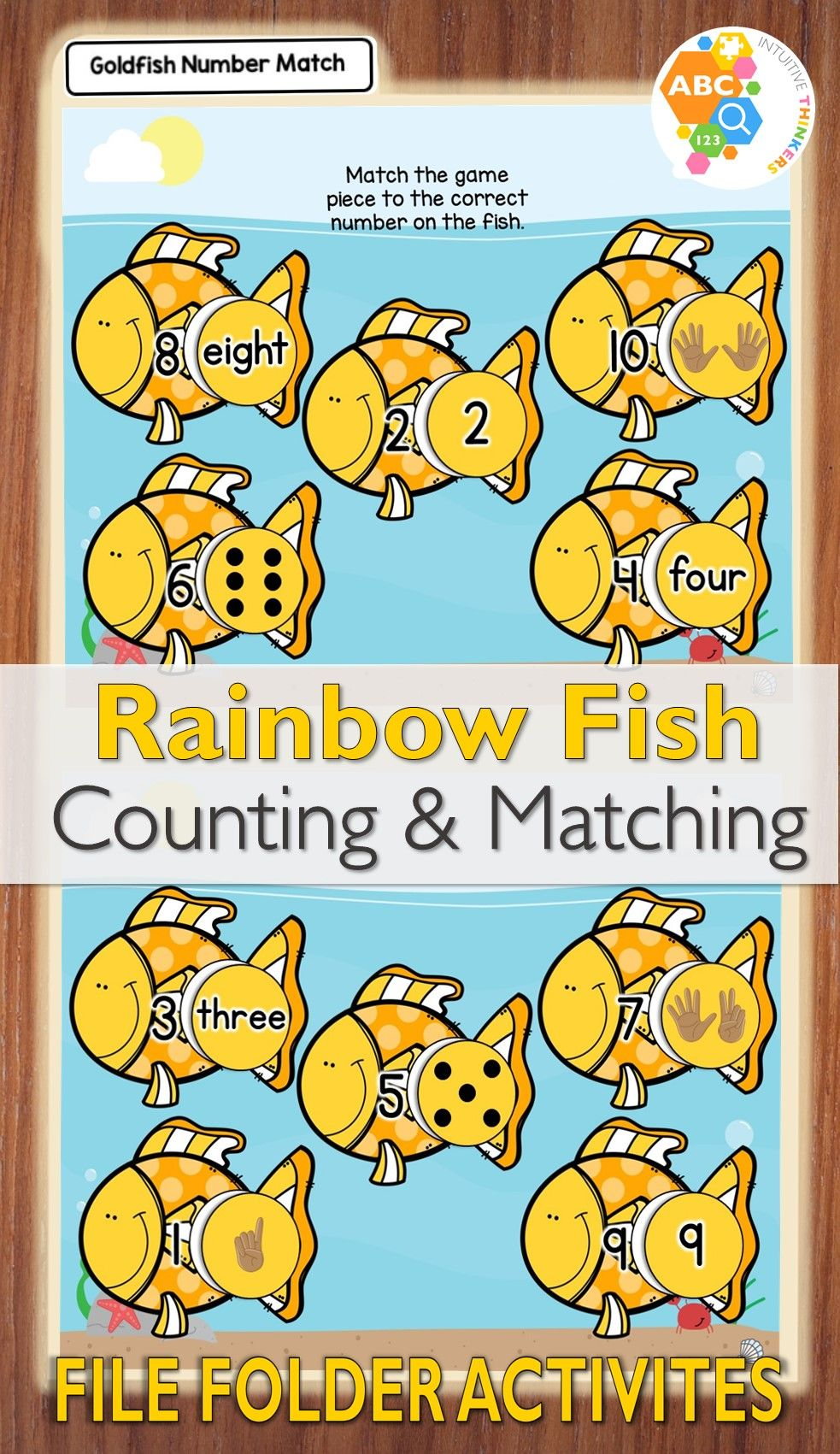 Rainbow Fish Counting and Matching File Folder Activities ...