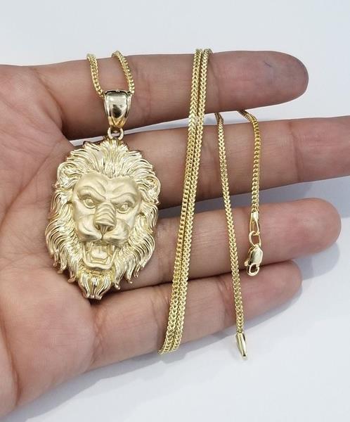 Vintage Gold Plated Large Lion Head Pendant  # HH  16