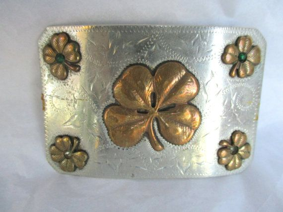 Vintage Ricardo Nickel Silver Bronze Trim Buckle with Four Leaf Clovers Irish Good Luck Green Gems