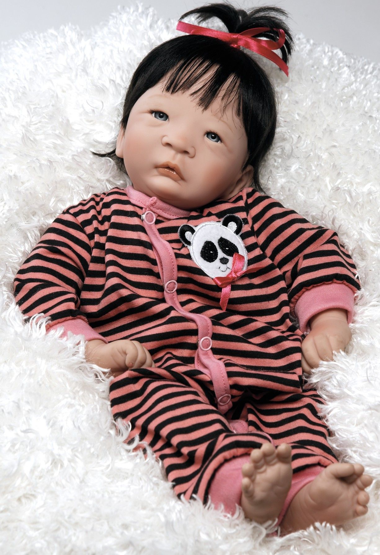 Asian Baby Doll Panda Twin Girl 17 inch Vinyl with Weighted Body
