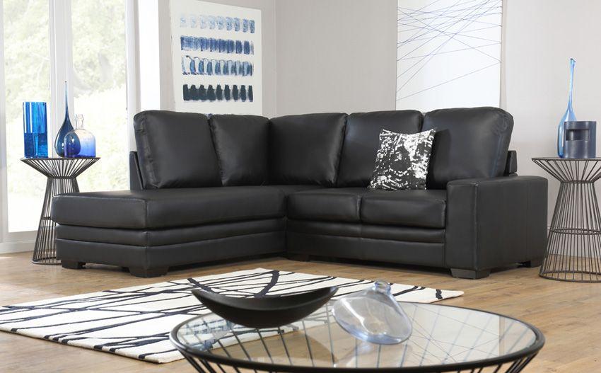 Michigan Leather Lhf Corner Sofa Black Leather Corner Sofa Corner Sofa Black Sofa