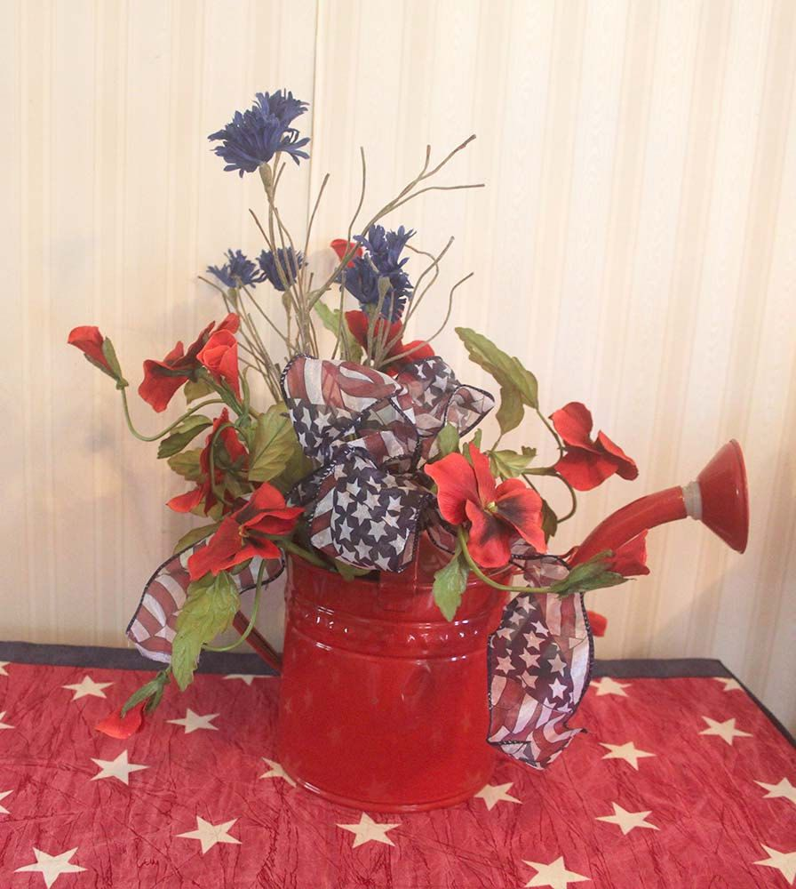 July 4th Watering can Centerpiece Patriotic arrangement