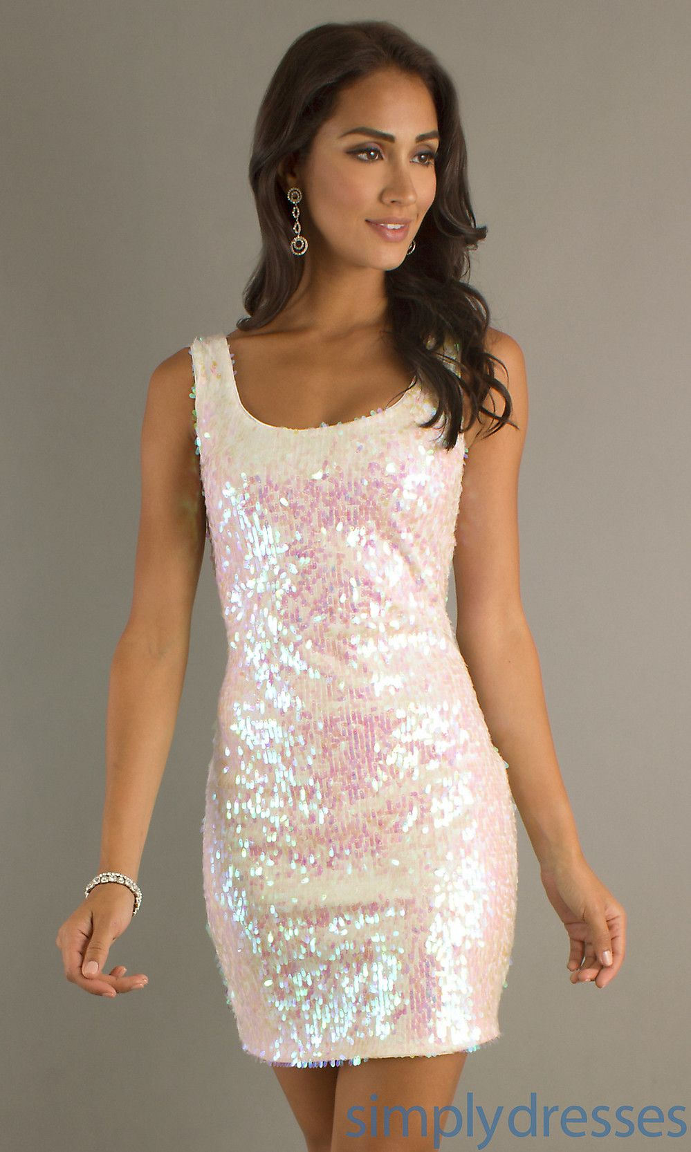 Pink White Sequin Dress