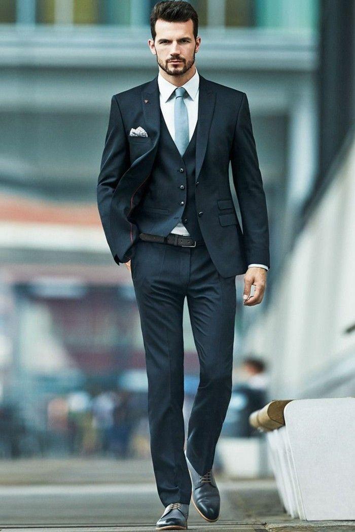 una scelta molto elegante per scegliere abiti da cerimonia uomo grigi con  cravatta azzurra cb4c13e4ba3