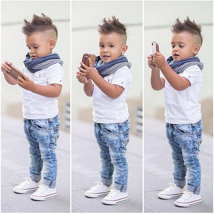 2pcs Toddler Boys Casual Fashion School Clothing Tops+Pants Kids Cotton Suit Set