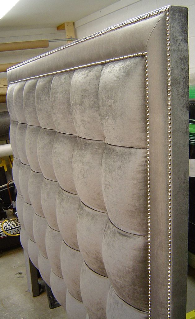 marie our products house headboard in studded fabric thatch