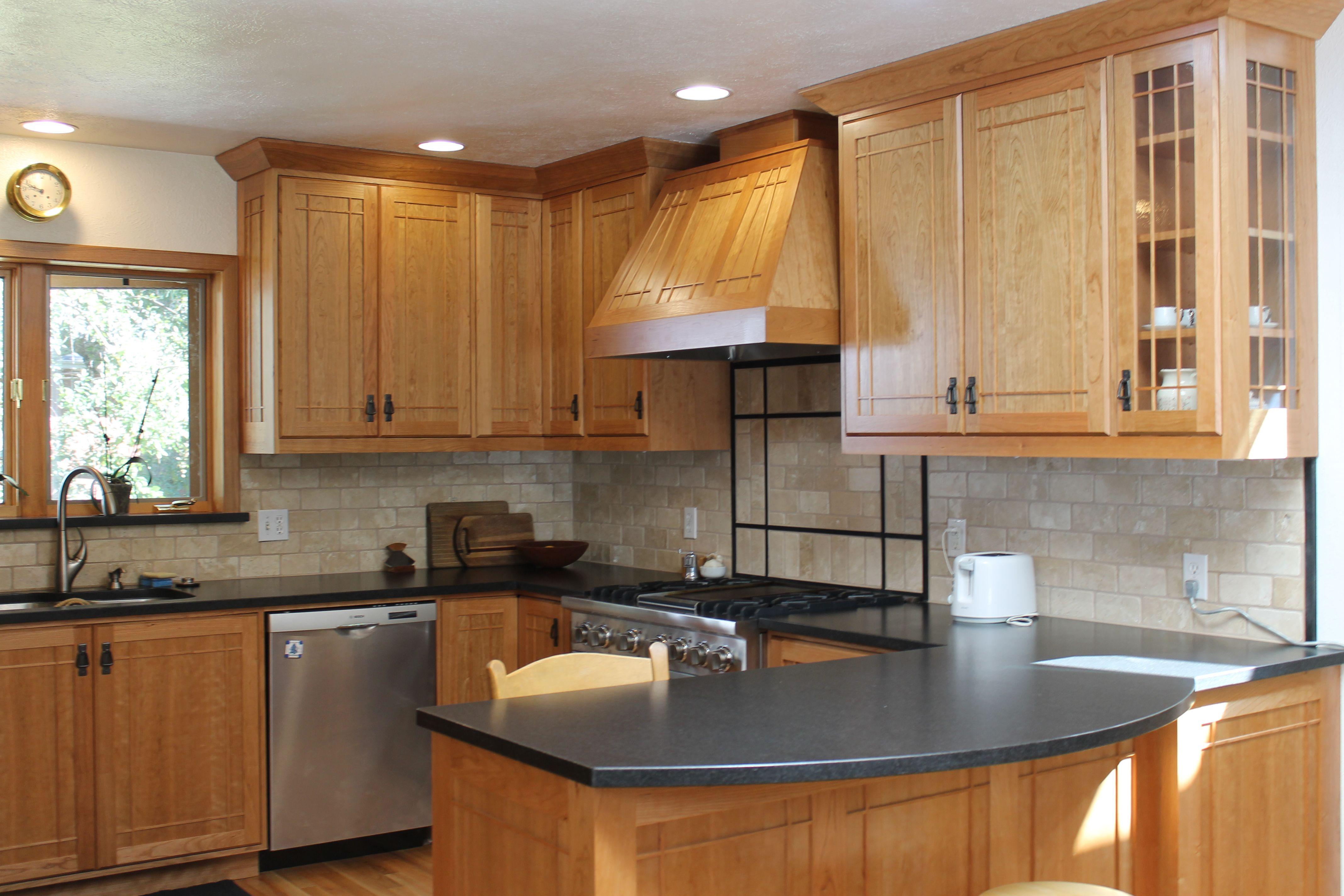 kitchen-contemporary-maple-cabinets-in-black-with-white ... on Maple Kitchen Cabinets With Black Countertops  id=39569