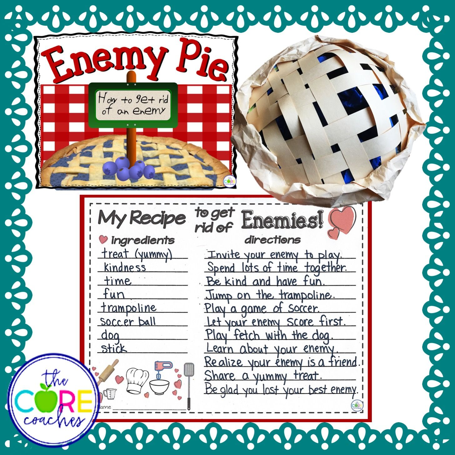Enemy Pie Freebie Interactive Read Aloud Lesson Plans And