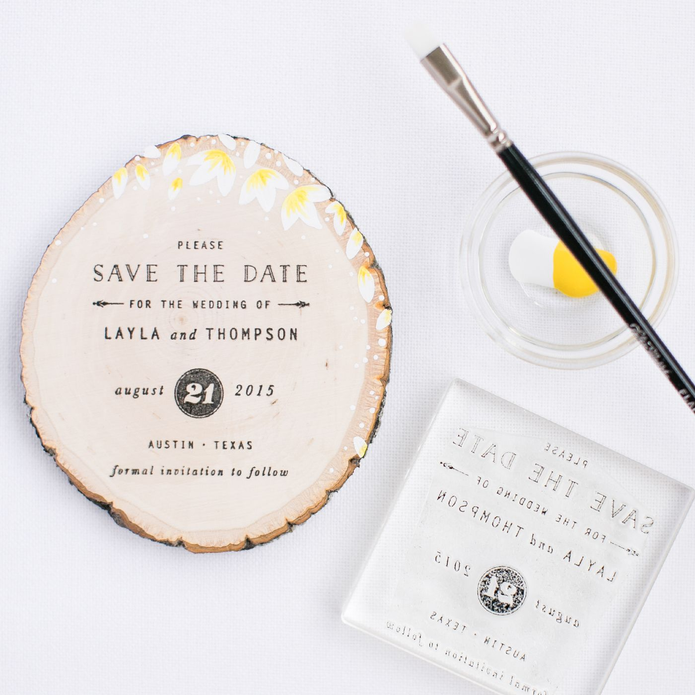 Diy Wood Slice Save The Date Using A Rubber Stamp Pretty Peas