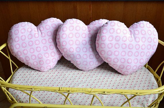 Pink and purple cushion heart by PrettyBazar on Etsy