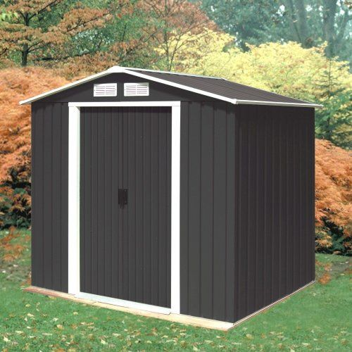 madrid 6ft x 4ft anthracite metal shed - Garden Sheds 6ft By 4ft