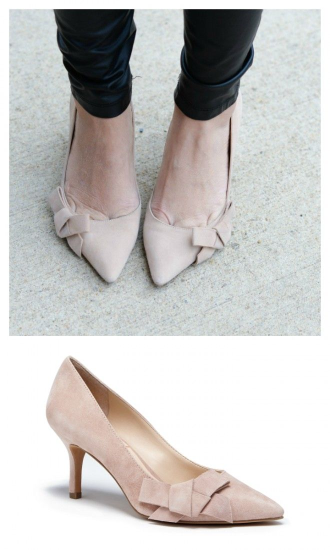 547110fbb8a Pretty suede mid heel pump with a ladylike bow and pointed toe. Perfect  bridal or work heel.