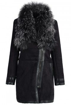 Shearling Wool Collar Matted Coat in Black - Retro, Indie and Unique Fashion
